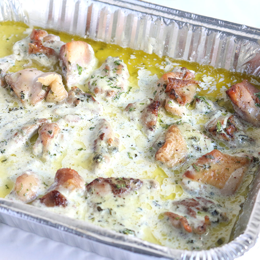 Grilled Chicken with Garlic Pesto Cream
