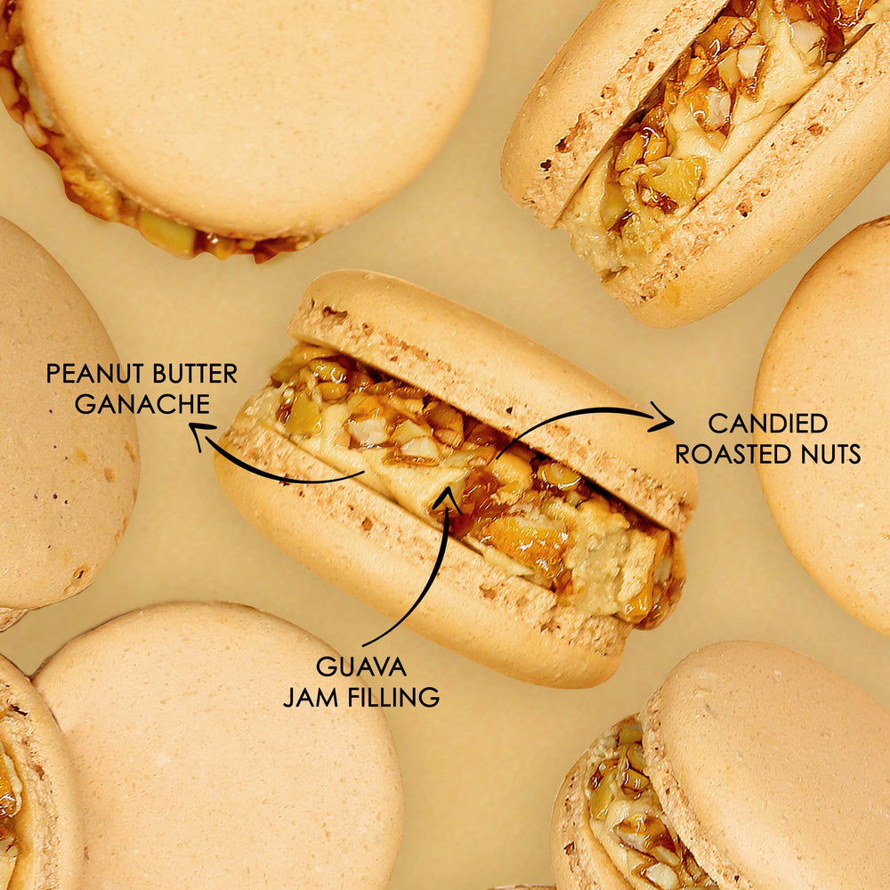 Load image into Gallery viewer, Peanut Butter and Guava Chunky Macaron