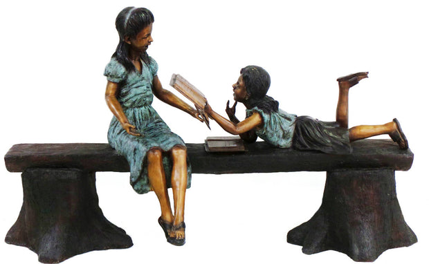"Two Kids Reading on Bench 30""L x 78""LW x 48""H"
