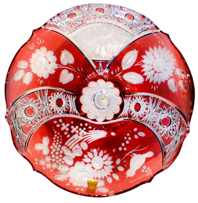 "Red Special Edition ""60 Years Meissen Lead Crystal"" Crystal Bowl 12"" Diameter"
