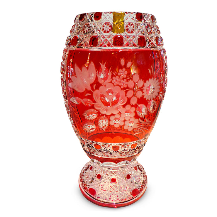 "Red Vase 2283/EO 314 Meissen Flower with London 13"" High"