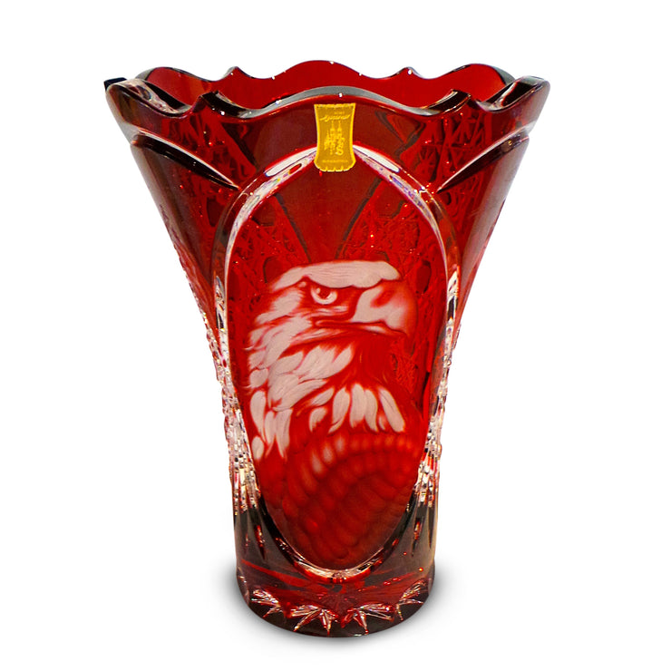 "Red Vase 205 Eagle 10"" High"