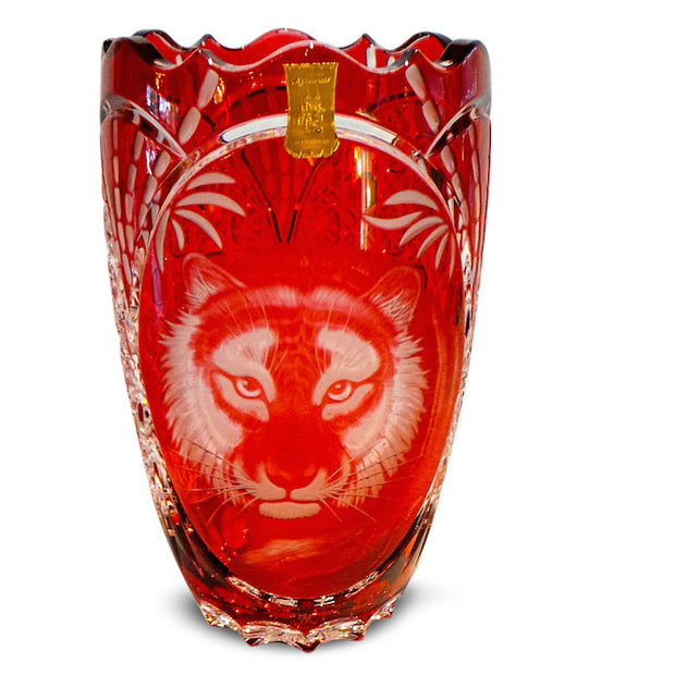 "Red Tiger Vase 10"" High"