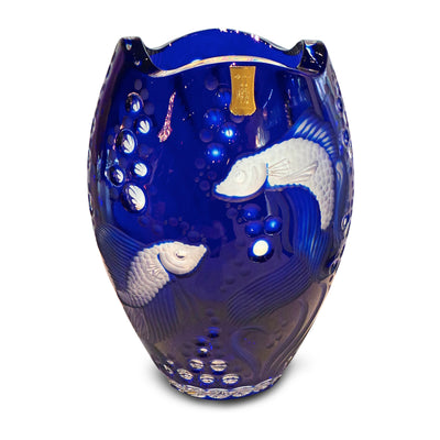 "Blue Fish Vase 10"" High"