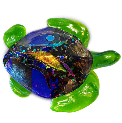 Medium 3D Sea Turtle with Hanger, Cobalt Shell and Lime Green Fins
