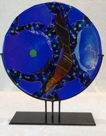 "10 1/2"" Abstract Plate, Cobalt Blue"