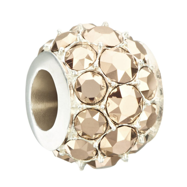 Sterling Silver w Stone- Splendor Bead- Rose Gold