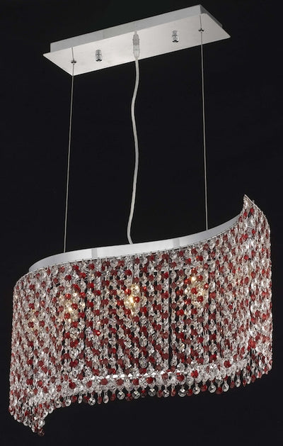 Moda Finish: Chrome Measurements(Inches):  Length: 32 Width/Diameter: 9 Height: 11 Chain/Wire Included: 6 ft. Lights: 5 Red