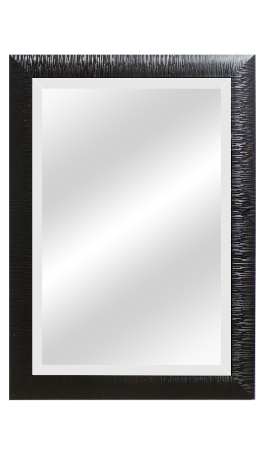 Black Wood Raised Grain Beveled Mirrors