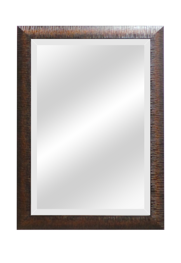 Copper/Brown Wood Raised Grain Beveled Mirrors
