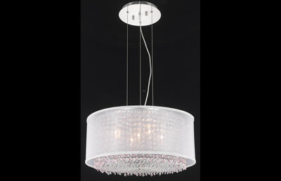 Moda Finish: Chrome Measurements(Inches):  Length: Width/Diameter: 21 Height: 11 Chain/Wire Included: 6 ft. Lights: 5