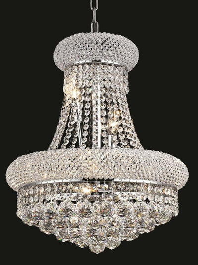 Primo Finish: Chrome Crystal Color: Crystal (Clear) Elegant Measurements(Inches):  Length: Width/Diameter: 16 Height: 20 Lights: 8