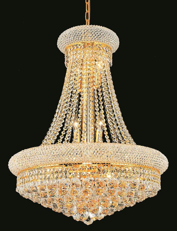 Primo Finish: Gold Crystal Color: Crystal (Clear)Royal Measurements(Inches):  Length: Width/Diameter: 24 Height: 32 Lights: 14