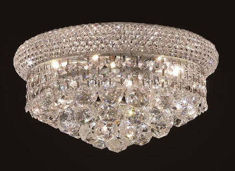 Primo Finish: Chrome Crystal Color: Crystal (Clear) Elegant Measurements(Inches):  Length: Width/Diameter: 14 Height: 8 Lights: 6