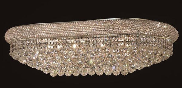 Primo Finish: Chrome Crystal Color: Crystal (Clear)Royal Measurements(Inches):  Length: 36 Width/Diameter: 20 Height: 12 Lights: 18