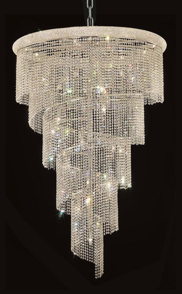 Spiral Finish: Chrome Crystal Color: Crystal (Clear) Royal Measurements(Inches):  Length: Width/Diameter: 48 Height: 72 Lights: 29