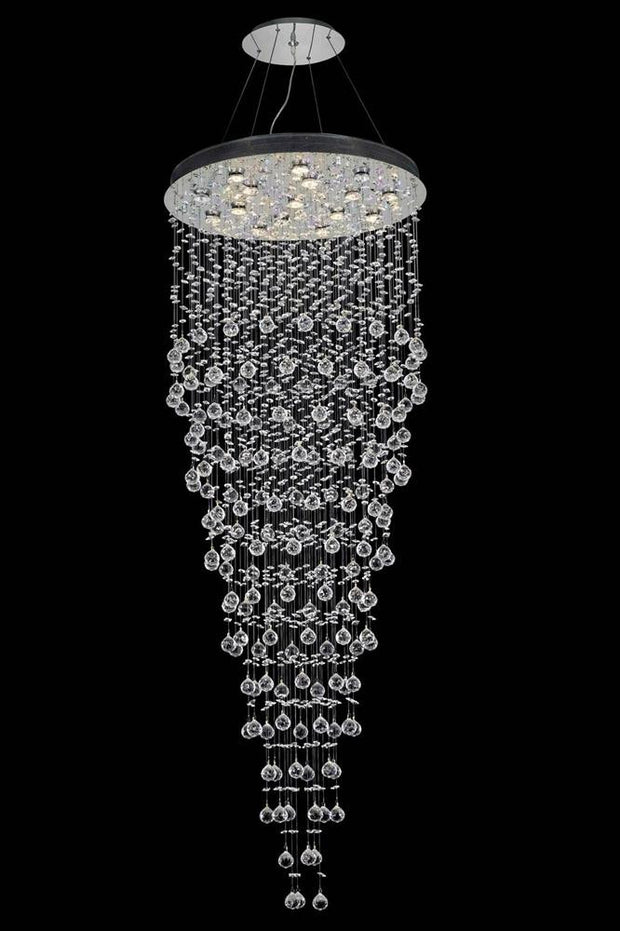 Galaxy Finish: Chrome Crystal Color: Crystal (Clear) Royal Measurements(Inches):  Length: Width/Diameter: 30 Height: 80 Lights: 16 LED