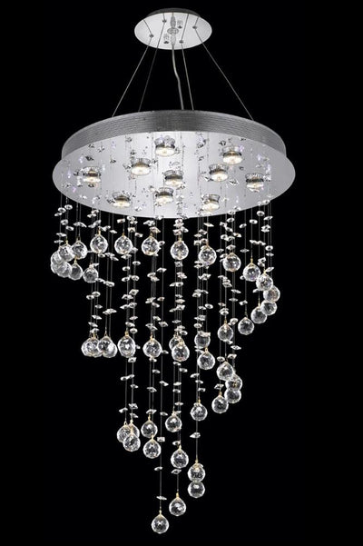 Galaxy Finish: Chrome Crystal Color: Crystal (Clear) Royal Measurements(Inches):  Length: Width/Diameter: 24 Height: 36 Lights: 10