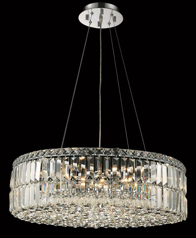 Maxim Finish: Chrome Crystal Color: Crystal (Clear) Royal Measurements(Inches):  Length: Width/Diameter: 24 Height: 7.5 Lights: 12