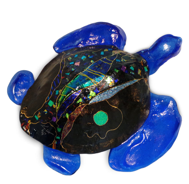 Medium 3D Sea Turtle with Hanger, Purple Shell and Blue Fins