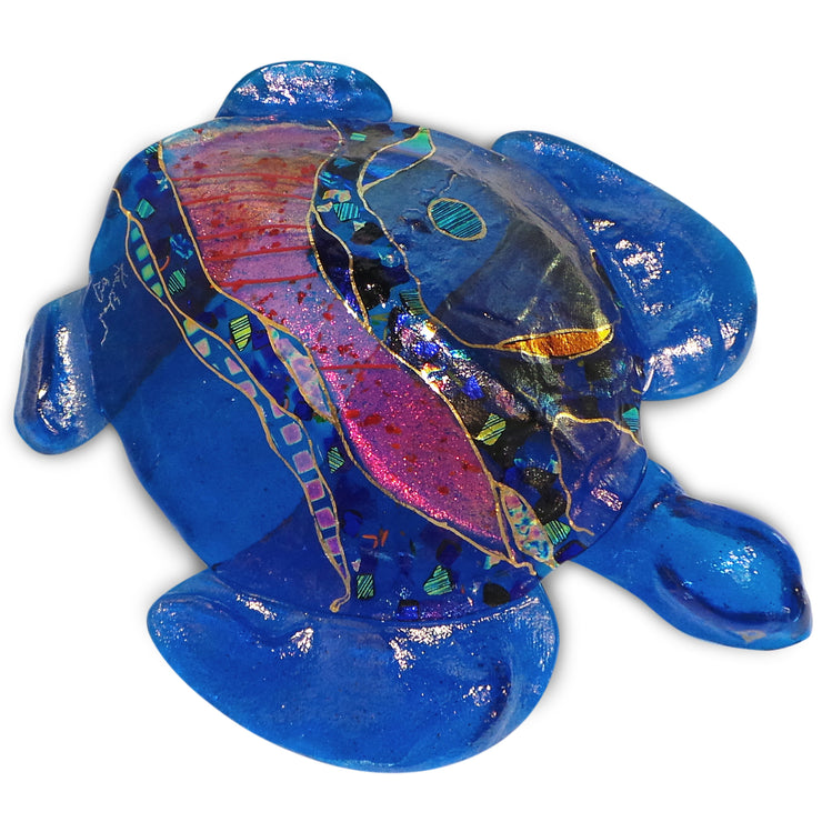 Medium 3D Sea Turtle with Hanger, Teal Shell and Teal Fins