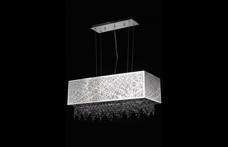 Moda Collection: Chrome Finish Measurements(Inches):  Length: 29 Width/Diameter: 13 Height: 13.5 Chain/Wire Included: 6 ft. Lights: 4