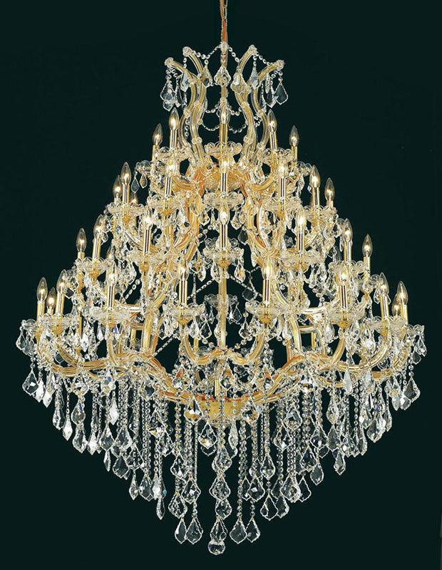 Maria Theresa Finish: Gold Crystal Color: Crystal (Clear) Royal Measurements(Inches):  Length: Width/Diameter: 46 Height: 62 Lights: 49