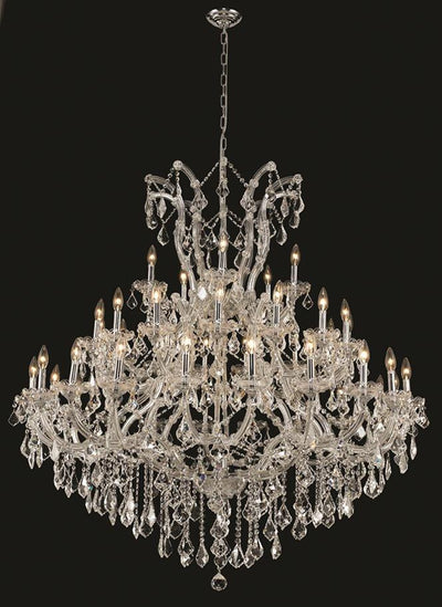 Maria Theresa Finish: Chrome Crystal Color: Crystal (Clear) Elegant Measurements(Inches):  Length: Width/Diameter: 52 Height: 54 Lights: 41
