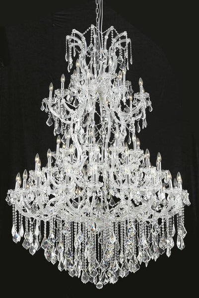 Maria Theresa Finish: Chrome Crystal Color: Crystal (Clear) Royal Measurements(Inches):  Length: Width/Diameter: 54 Height: 72 Lights: 61