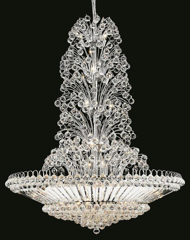 Sirius Finish: Chrome Crystal Color: Crystal (Clear) Elegant  Measurements(Inches):  Length: Width/Diameter: 48 Height: 60 Lights: 43