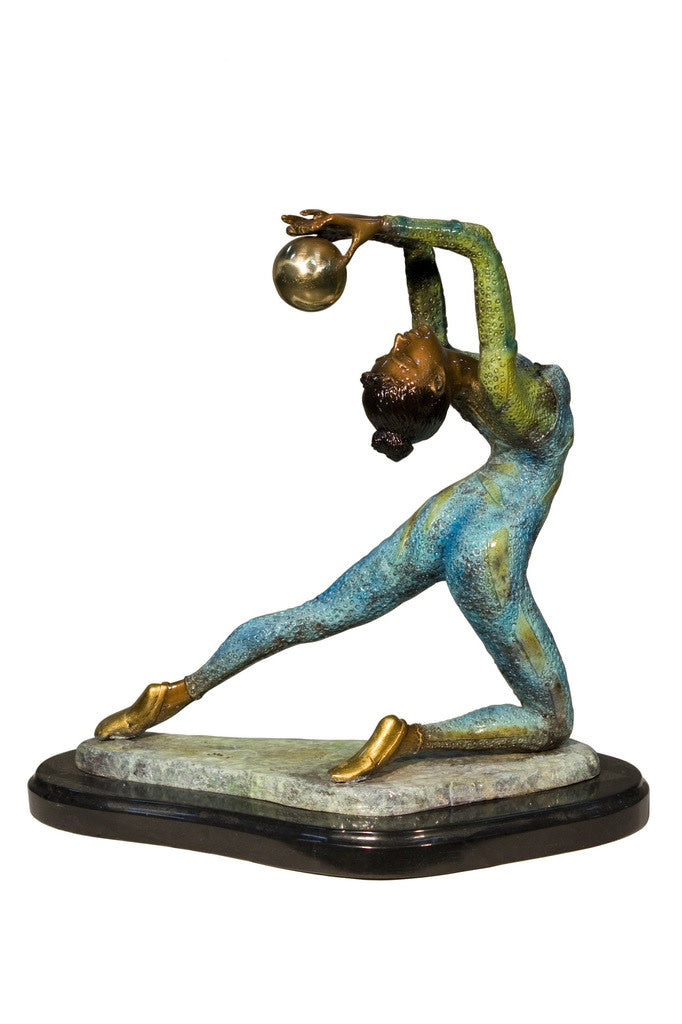 "Ballerina Kneeling Special Patina and Marble Base 13""L x 5""W x 15""H"