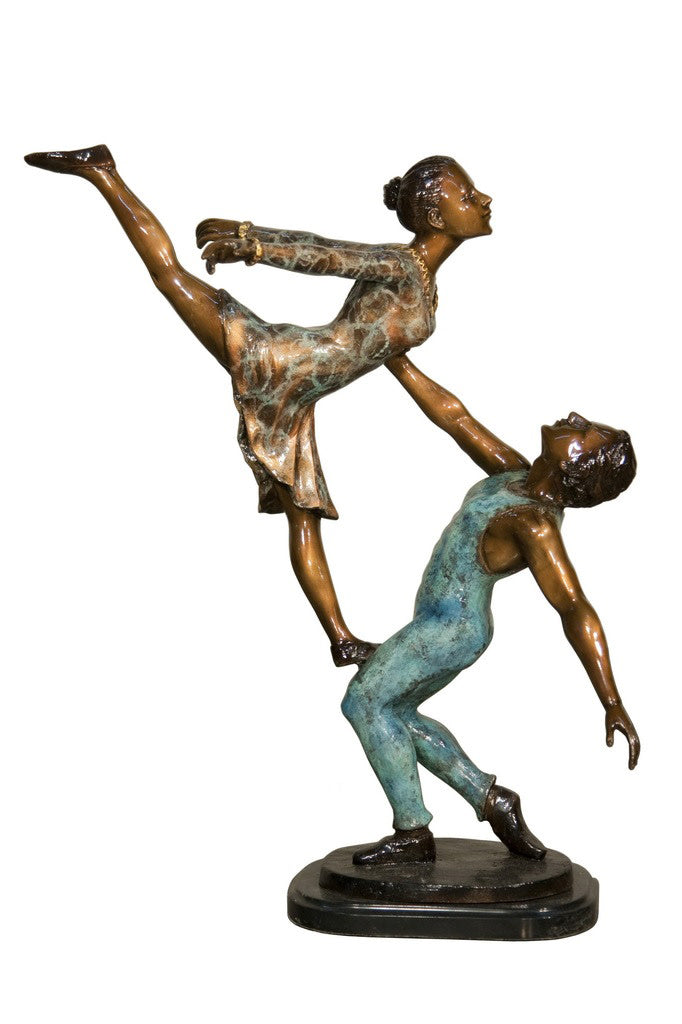 "Ballerina Man and Lady on Marble Base - Special Patina 20""L x 14""W x 24""H"