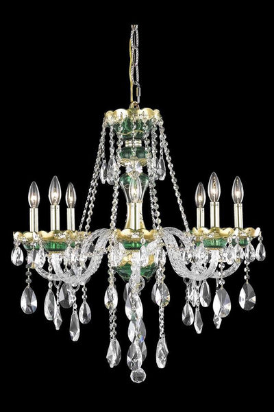 Alexandria Finish: Gold Crystal Color: Crystal (Clear) Elegant Measurements(Inches):  Length: Width/Diameter: 26 Height: 28 Lights: 8