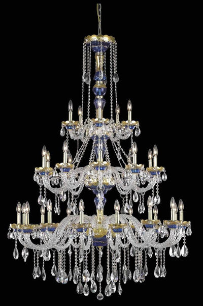 Alexandria Finish: Gold & Blue Crystal Color: Crystal (Clear) Royal Measurements(Inches):  Length: Width/Diameter: 45 Height: 62 Lights: 30