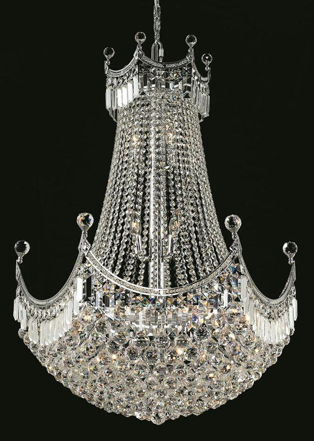Corona Finish: Chrome Crystal Color: Crystal (Clear) Royal  Measurements(Inches):  Length: Width/Diameter: 30 Height: 40 Lights: 24