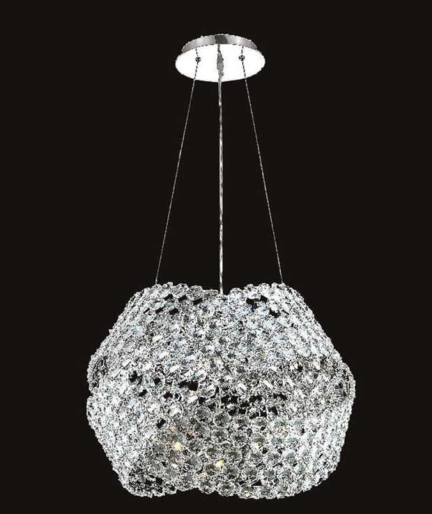Electron Finish: Chrome Crystal Color: Crystal (Clear) Elegant Measurements(Inches):  Length: Width/Diameter: 24 Height: 16 Lights: 12