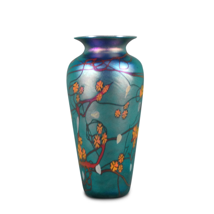 "Blue California Poppy Vase 10""H x 6""D"