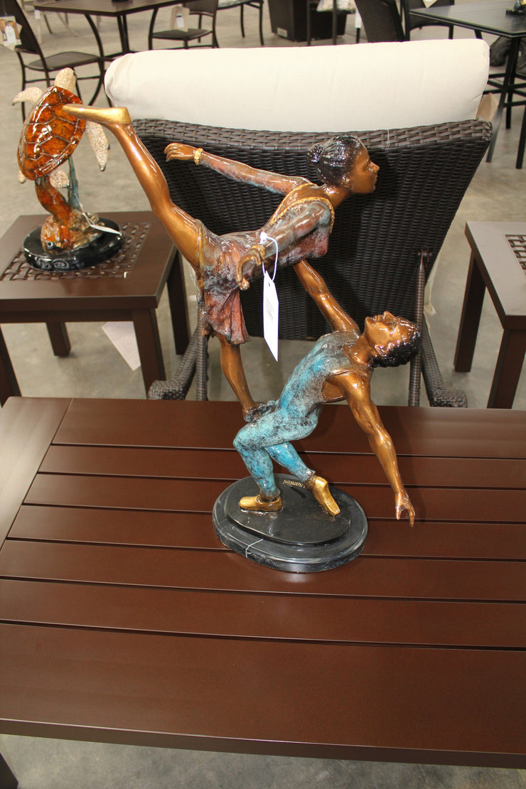 "Ballerina Man and Lady on Marble Base - Special Patina 22""L x 10"" W x 27""H"