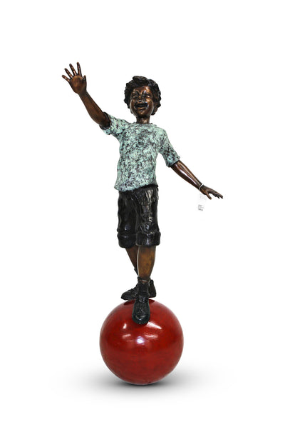 "Balancing Boy with Ball - Green/Brown 13""L x 20""W x 38""H"