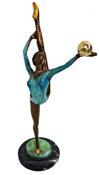 "Ballerina- Raising Hand and Leg Special Patina on Marble Base 12""L x 7""W x 24""H"