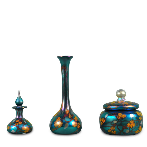 "Blue California Poppy Little Eden Vanity Set - Bud Vase 10""H x 4""D Lidded Jewelry Jar 5""H x 5""D Genie Perfume 5""H x 3""D"