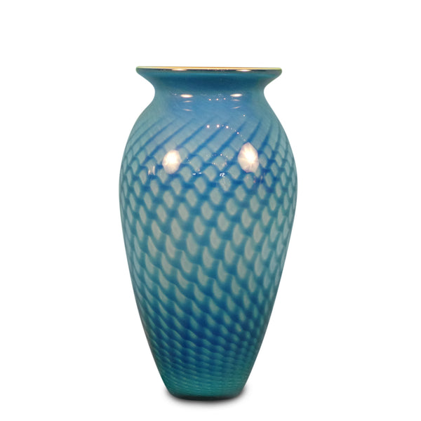 "Blue Feather Vase (Red Interior) 10"" High"