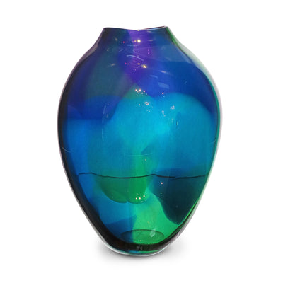 "Blue Watercolor Small Vase 8"" High"