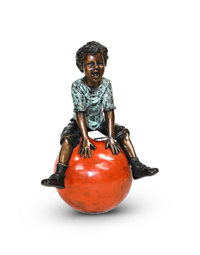 "Boy with Ball - Green/Brown 13""L x 15""W x 23""H"
