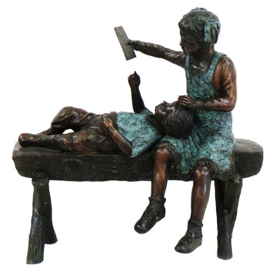 "Boy and Girl on Bench 26""L x 24""W x 47""H"