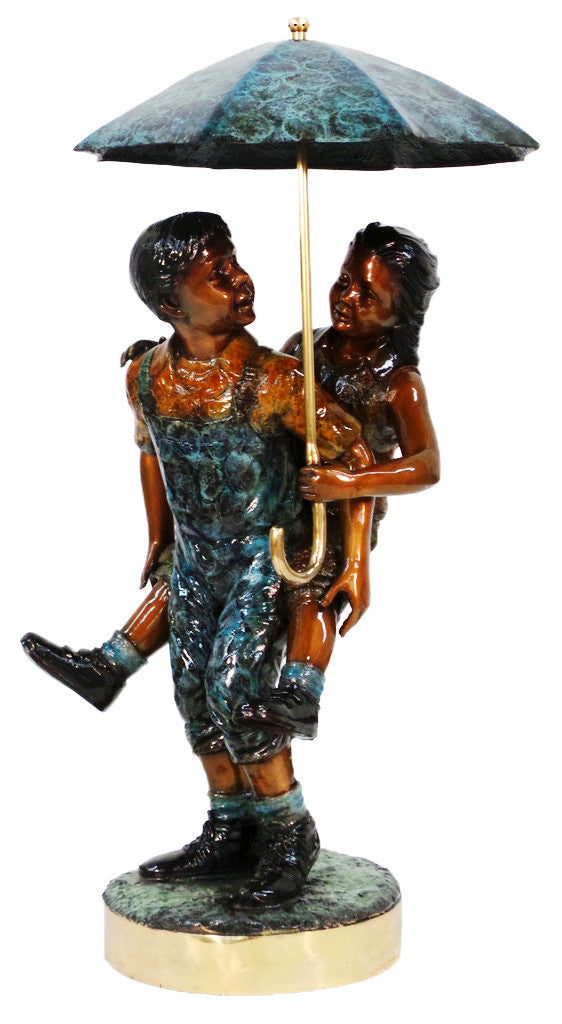 "Boy and Girl with Umbrella - Special Patina 28""L x 32""W x 56""H"