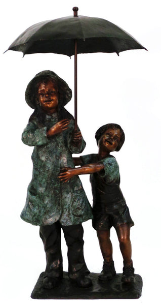 "Boy and Girl with Umbrella 22""L x 32""W x 59""H"