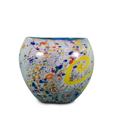 "Cobalt Blue Confetti Bowl 6"" High"