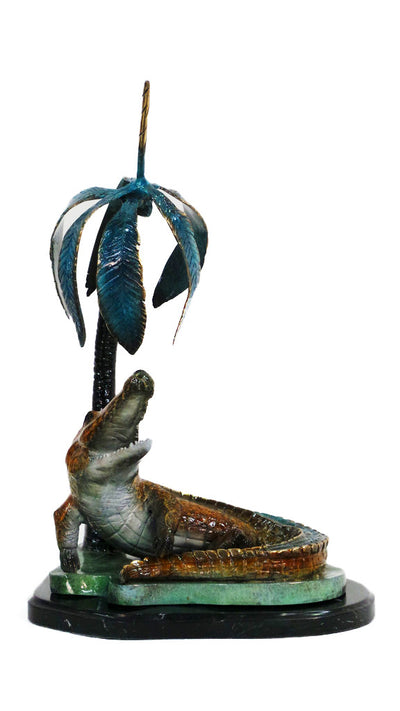 "Crocodile Head Up on Marble Base - Special Patina 9""L x 12""W x 22""H"