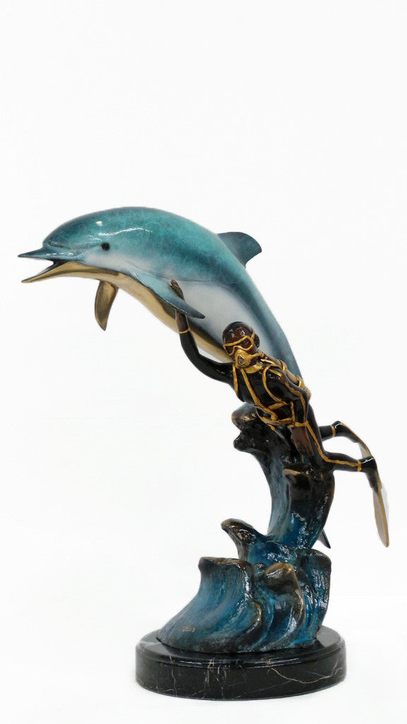 "Dolphin with Diver and Marble Base 20""L x 9""W x 19""H"